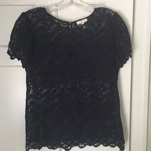 Joie Navy lace top